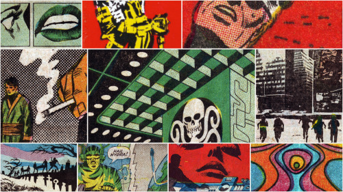 My new desktop wallpaper is made up of awesome Steranko panels, courtesy of 4CP, and it is the greatest.
