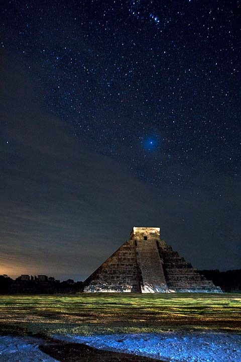 "evocativesynthesis:   ""Chichen Itza at Night"" by Alex Korolkovas"