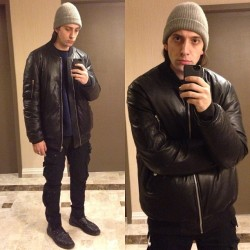 Seriously bundled up in my Rick leather puffer #RickOwens #TodaysLook