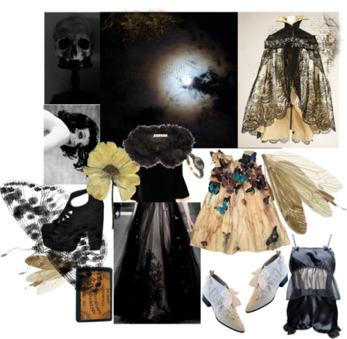 moth of night by kissinghorcruxes featuring an agate ringGoldie flare dress, $85 / Jeffrey Campbell  / White lace booties / Agate ring / Marni , $210 / Zippo Ouija Board Black Matte Lighter : Elighters.com / Loulou Loves You - LilyPyjamaSetBlack, $135