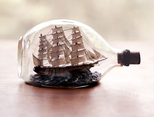 Ray Gascoigne, ship in a bottle builder. (via Doobybrain)