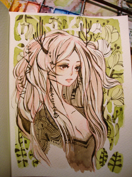 maruti-bitamin:  More soft-inking practice with an OC. I draw her about 2-3 times a year haha.