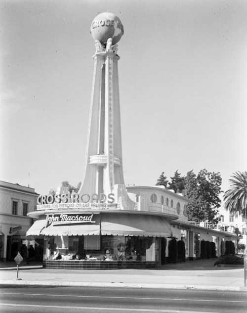 losangelespast:  Crossroads of the World, Sunset Boulevard in Los Angeles, 1939.  Gosh, is this still there. I haven't been on Sunset Blvd. in so long. Okay, it's been 5 months, but I don't even remember seeing it then.