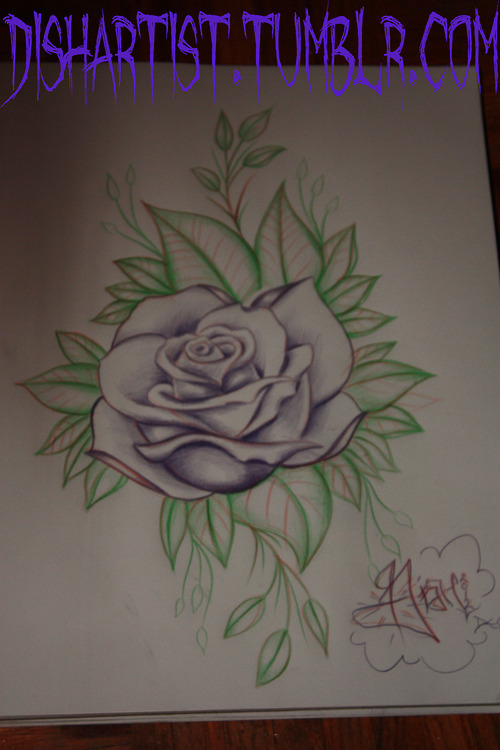 Doodled a rose… I'd love to tattoo some traditional inspired roses. It seems to be a trend that I post at night when no one sees the drawings but I'm a night owl so that's how she goes I suppose. :P I will try and keep my blog much more active as I've got my motivation back now so keep your eyes peeled. :)