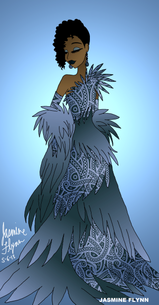 Blue Bird Dress. a digital drawing by me, Jasmine Flynn :)