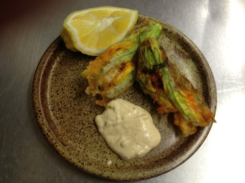 Courgette flowers, crab, mayonnaise