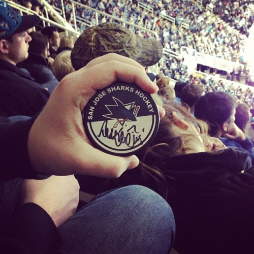 Autographed #SJSharks puck - on Niemi's 100th career win
