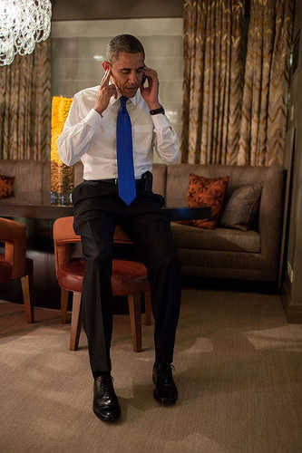 "President Obama taking the concession call from Romney! ""I'm sorry, can you repeat that Governor? I just want to hear the word conceed one more time, k?"""