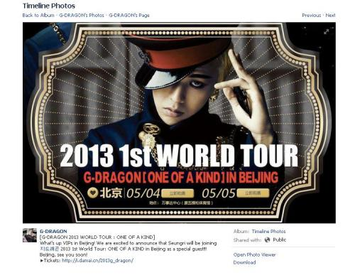 Seungri will be joining G-Dragon on his 2013 WORLD TOUR : ONE OF A KIND in Beijing  What's up VIPs in Beijing! We are excited to announce that Seungri will be joining지드래곤 2013 1st World Tour: ONE OF A KIND in Beijing as a special guest!!! Beijing, see you soon!▶Tickets: http://i.damai.cn/2013g_dragon/  Source: G-Dragon's Official Facebook