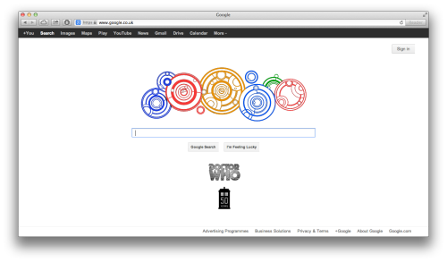 timeandbananas:  gallifreyan:  Doctor Who's Google HomepageSaturday 23rd November 2013Tweet this to @GoogleDoodles!  I wish for yes