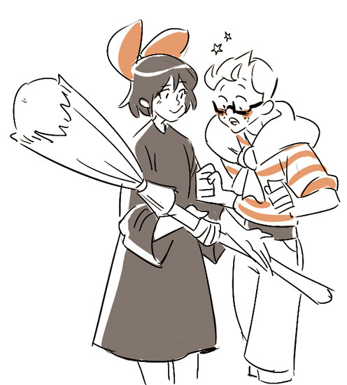 miraongchua:  doodled kiki and tombo from memory..