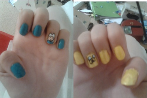 Adventure Time nails :3