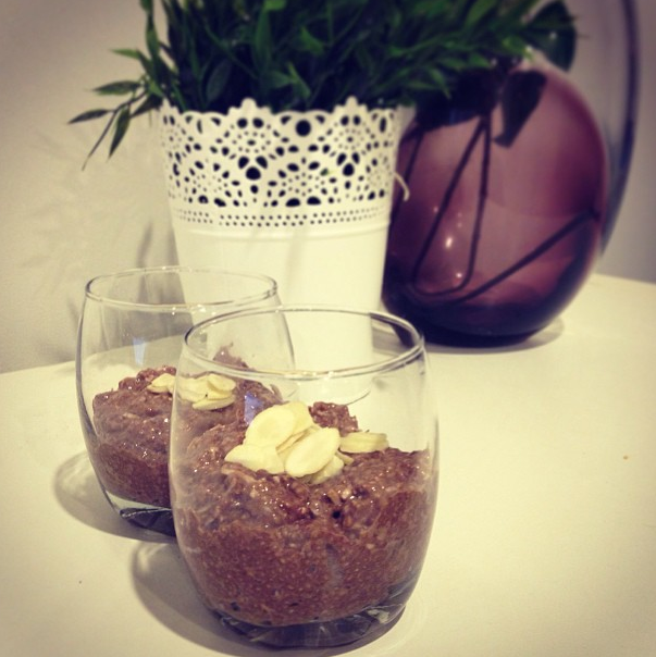 CHIA SEED PUDDING Okay so my first blog posts aren't exactly fashion/model related but I have had a lot of industry people ask me about my new favourite food… Chia Seed Pudding!!!! I won't go on to list all the benefits of this amazing superfood as I'm sure you will google it if you are interested. I will however share my two favourite recipes adapted from the basic formula of milk, chia seeds and whatever! :) Basically you use 1cup of any milk of your choice with 1/4cup chia seeds and add whatever tickles your fancy :) Mix all ingredients together and refrigerate for at least 2hrs.   COCOA, COCONUT AND ALMOND CHIA SEED PUDDING   1cup Almond Milk     1/4cup chia seeds   2tsp cocoa   2tsp almond butter   2tsp shredded coconut   (and to add some sweetness add 2tsp honey or vanilla extract)