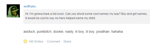 everytoime-i-look-for-you:  Tyler, the Creator helps his fans name their children.