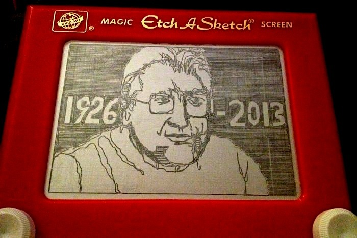 He Shook It Up…. Andre Cassagnes, the French inventor of the Etch A Sketch, has passed away. The ubiquitous and arty toy was the product of a happy accident while working with aluminum powder. This followed the unhappy accident of discovering he was  allergic to flour and could no longer work in his family's bakery. His early version, L'Ecran Magique, was purchase by Ohio Art after its debut in 1959 at the Nuremberg Toy Fair. He embarked on a career as a kite maker at the tender age of 50 and gained renown for those as well. He was 86. See the obituary at New York Times.