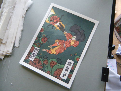 Tradition meets nostalgia! This is a handmade Japanese woodblock print, featuring Samus.  You can see how it was made in this video. Prints are available here.