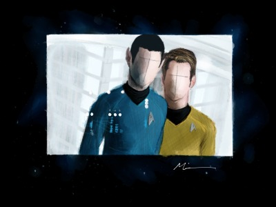 PaperFaces of Spock and Kirk, drawn on an iPad with Paper by 53.  Anyone else see Star Trek Into Darkness? Saw those plot twists coming a mile away…  Made With Paper