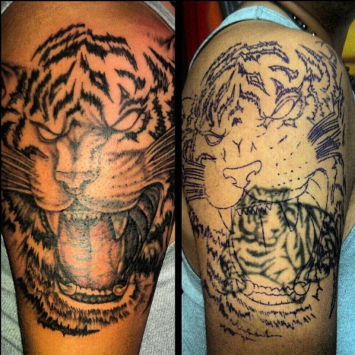 #coverup #tattoo #ink #dementophobia #tiger #wild #hot #fierce #boy #love #mom #girl #art #lovethisart #artist #fun#like #animal