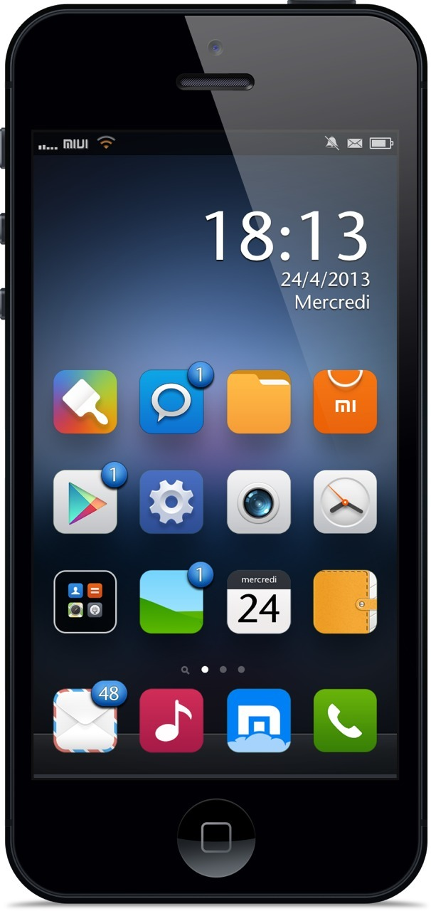 appleforeveriph:  MIUI V5 by @AR72014 and @frep  Very nice theme!