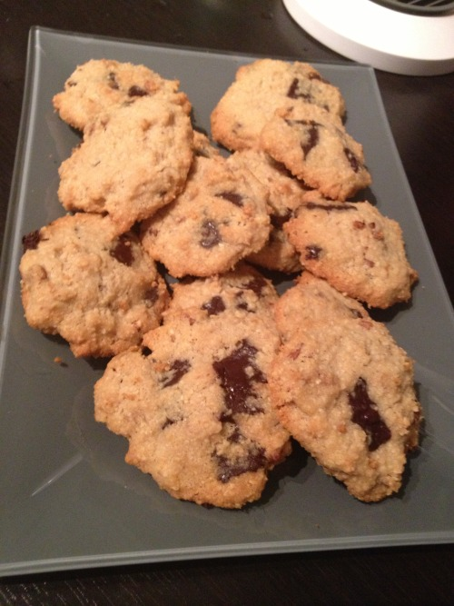 Low carb cookies.. I would tell you my recipe but I do not know myself. I just put together almond flour, splenda, egg, cinamon and 85% chocolate. I mixed it and put into oven for few minutes. It tasted really good :)
