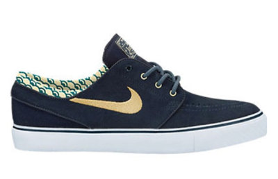 mcfly17:  Another new Nike Zoom Stefan Janoski was surfaced last week and it has a design on the back heel and it is a black upper with a vulc midsole. a pecan color on the swoosh and eyelets.
