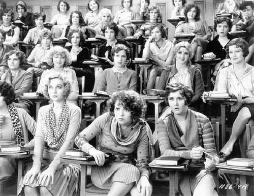 glitterandmetal-yt-da:  somewhatdorky:  choosechoice:  A sex ed class in 1929  this chick  she knows what's up  Every face in there is so priceless