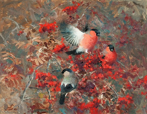 Thure Wallner Bullfinches in a Rowan Tree 20th century