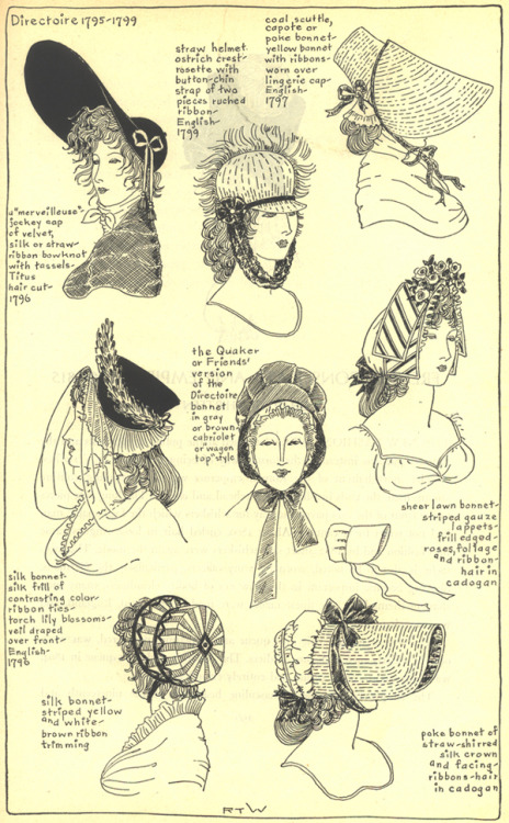 """sartorialadventure:French""""Directoire"""" hats and hairstyles, 1795-1799 from  Ruth Turner Wilcox's The Mode in Hats and Headdress: A Historical Survey with 198 Plates.    @josefavomjaagareplied:Also featuring earrings for men. (King Max Joseph of Bavaria wore earrings, btw, ever since his youth as a soldier in French service, and refused to part with them even as a monarch.)Me: 🤔Me:Me:Me:Me:Me: WOOHOO!!!! YES! EARRING LOCATED!! #directoire#jewelry#mens fashion#19th century #19th century fashion #french fashion#bavaria"""