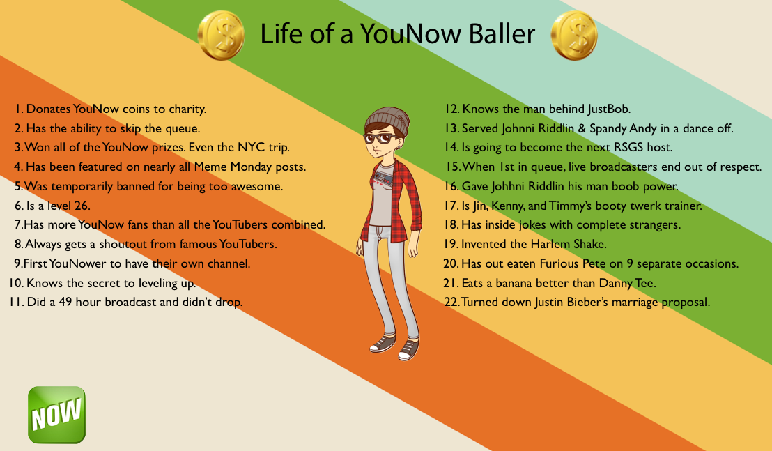 Life of a YouNow Baller :). Did we miss anything?