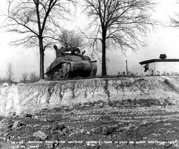 indypendenthistory:  One of the 1,662 M-4 Sherman tanks on the obstacle course of the tank test track that was built in World War II. Every tank had to run as fast as possible for 28 laps on the 1.1 mile long test track or 30 total miles. One in 10 had to pass the obstacle course. (via Evansville Courier & Press)