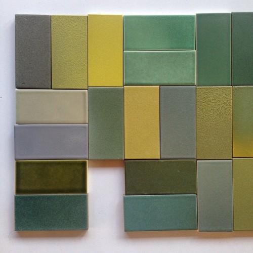 heathceramics:  Yellows and Greens. (at Heath Ceramics San Francisco)