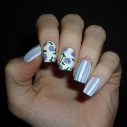 justtisems:  moustachemanis:  My original mani idea didn't quite work out, so these are the official birthday nails 2013! Like always, more on the blog.