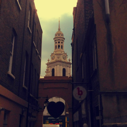 St Alfege's church from Greenwich market.