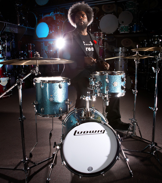 "Get QuestLove's Drums Sent to Your Home in 1 Hour How sweet is this drum set? Questlove (the wind beneath Jimmy Fallon's wings) partnered with Ludwig to make this pack-easy set. ""I wanted to build a device that was apartment-friendly and compact for the street musician. Also something that was quality-sounding,"" said the music archivist. ""A gritty, raw, 'Break-able' kit for gigging in clubs that you can fit in a cab."" Sounds like a drum kit for a nimble New Yorker. Lucky for us that eBay Now (a new service that delivers products to your home in one hour) is working in New York right now. The new drums, called ""Breakbeats"" is sold exclusively at Guitar Center, which is a retailer that eBay Now picks up and delivers from. Download that app right now! (Text by Jauretsi)"