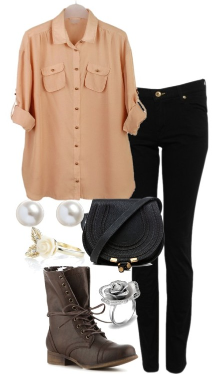REQUESTED: Casual outfit for school  Blouse / Love Moschino skinny leg black jeans, $125 / Madden Girl lace bootie / Chloé leather handbag / Cubic zirconia cocktail ring / Accessorize carved ring / White pearl earrings, $3.20