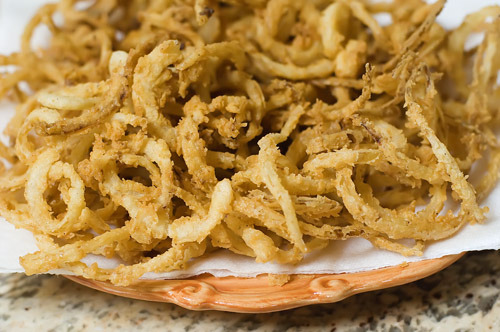 Onion Strings {Recipe} Found at: thepioneerwoman
