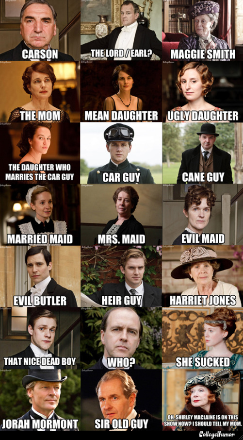 susannawolff:  collegehumor:  Downton Abbey Character Name Guide Just jumping in to Downton Abbey? Or just bad at remembering people? Here's the fastest, simplest character primer.  I hope this helps.  who?