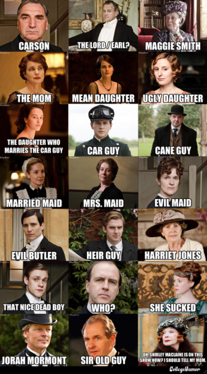 susannawolff:  collegehumor:  Downton Abbey Character Name Guide Just jumping in to Downton Abbey? Or just bad at remembering people? Here's the fastest, simplest character primer.  I hope this helps.  Carson, my love.