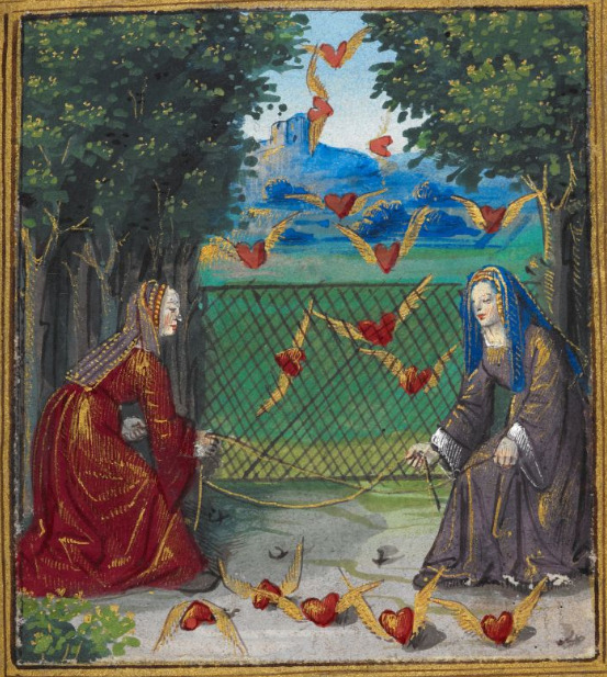 demonagerie:  British Library, Stowe MS 955, f. 13r ('Two women attempting to catch flying hearts'). 'Pierre Sala, Petit Livre d'Amour (also known as Emblesmes et Devises d'Amour), a collection of love poems and 'énigmes', preceded by a dedication in prose from the lover/author to his mistress Marguerite'. c.1500