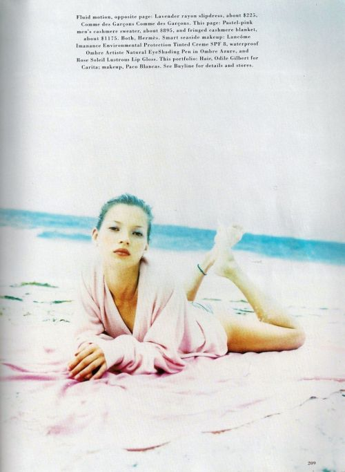 "the-front-row:  Kate moss in Harper's Bazaar 1994 ""Go with the Flow"" by Enrique Badulescu"