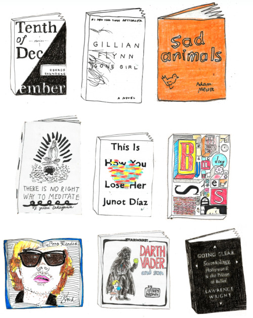 chroniclebooks:   Just discovered Jenn Witte's drawings for Skylight Books and we're so totally giving her the prize for coolest thing we saw on the Internet today. Here's her Tumblr with her collection of book cover drawings. How did we not know about this?  paperispoetry:  Jenn Witte is my new hero. She works at Skylight Books in LA and draws pictures of the books they sell. She drew most of their website, and her Tumblr is awesome.