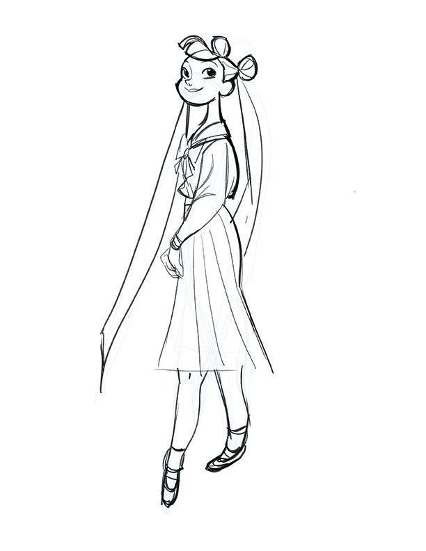 Usagi from Sailor Moon! I wanted to draw her considering her personality. It always bugged me in anime how they were all basically the same girl with different hair…