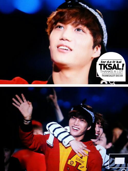 telekineticlouds:  130511 dream concert ending handsome kai *__* cr: at logo  At the end we always see TaeKai moment