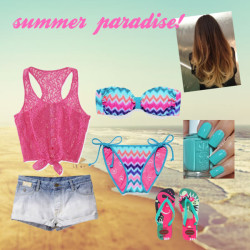 Summer paradise by salsabilakaresha featuring a halter swimwearLace top / Scotch & Soda short shorts, $120 / Victoria's Secret halter swimwear / Victoria's Secret string bikini swimwear / Havaianas  / Summer Beach Photography, California, Pacific Ocean, Sea, Vacation,…