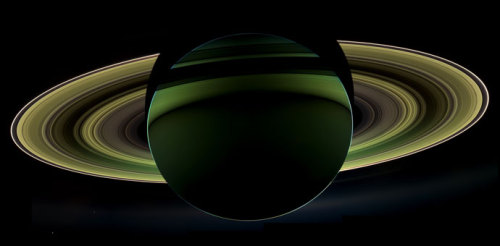 "nasafans:  ""This glorious view of Saturn was taken while the Cassini spacecraft was in Saturn's shadow. The cameras were turned toward Saturn and the sun so that the planet and rings are backlit. In addition to the visual splendor, this special, very-high-phase viewing geometry lets scientists study ring and atmosphere phenomena not easily seen at a lower phase."" - NASA JPL  Read more here."