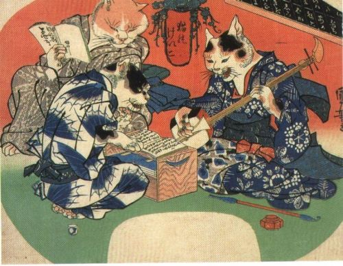 awakefulsleep:  Bakeneko via hyakumonogatari     D'aww, the cat is getting singing lessonsXD  … wait, shamisens are made from cat skin! Sudden morbid turn! D: