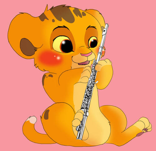 fluteheaven:  Simba and the Flute by =Puffleduck on deviantART on We Heart It. http://weheartit.com/entry/54810718/via/botdf2121 omg too cute