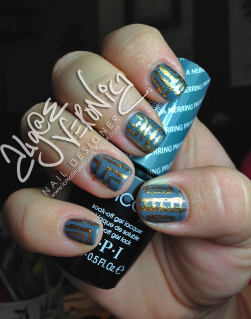 "Jesi wearing ""I Have A Herring Problem"" in OPI GelColor with a design in ""Goldeneye"" from the Skyfall collection by OPI"