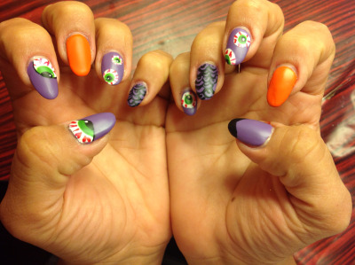 Just did my nails, again…  Kinda Halloween-ish… But fuck it, lol  When men aren't there- nail polish is!