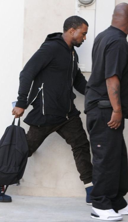 Kanye West was spotted by Studio City, California styling in an Balmain hoodie with a pair of Patta x KangaROOS Woodhollow Heritage Hiking boots